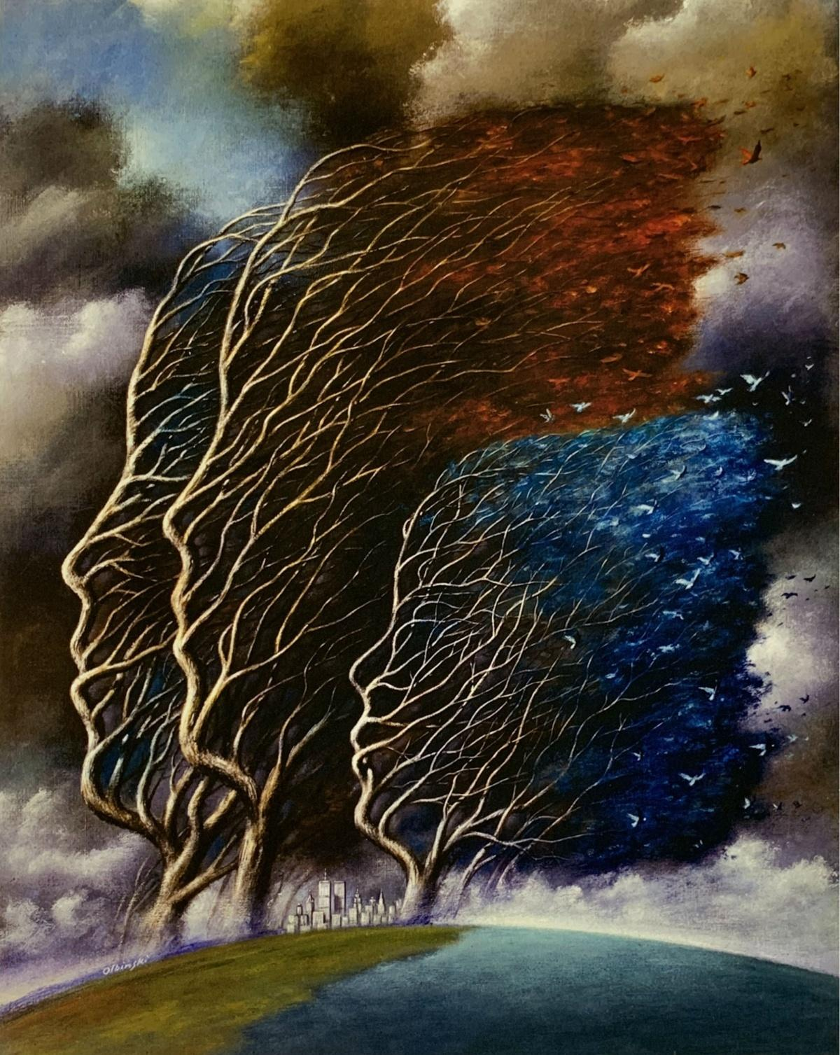 Always together - 21st century, Figurative Surrealist print, Colorful