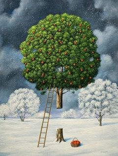 An apple tree - Figurative Surrealist print, Vibrant colors, Landscape