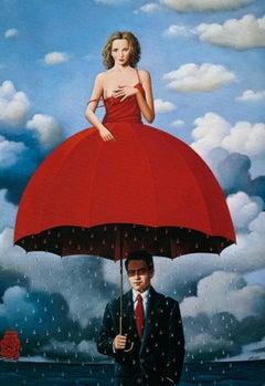 An Umbrella - Figurative Surrealist print, Vibrant colors, Couple, Blue & red
