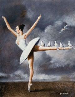 Ballerina - XXI Century, Contemporary Figurative Print, Grey