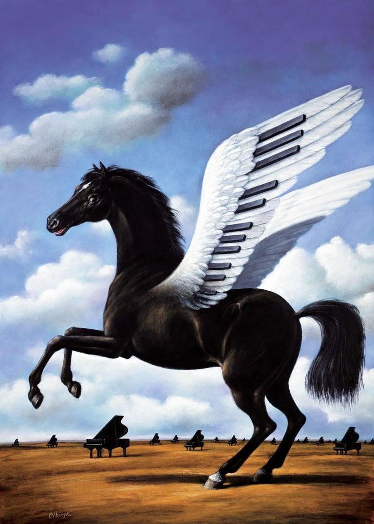 Rafał Olbiński Figurative Print - Black horse - Contemporary Figurative Surrealist Print, Animal