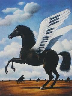 Black horse - XXI century, Figurative Surrealist print, Animals, Landscape