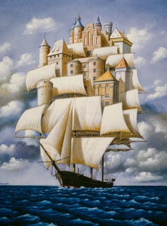Castles of imagination - Surrealist print, Figurative, Seascape, Marine