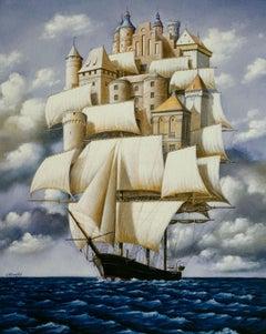 Childhood castles - Contemporary Figurative Surrealist Print, Marine, Ship