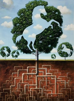 Horses - XXI Century, Contemporary Figurative Surrealist Print, Landscape