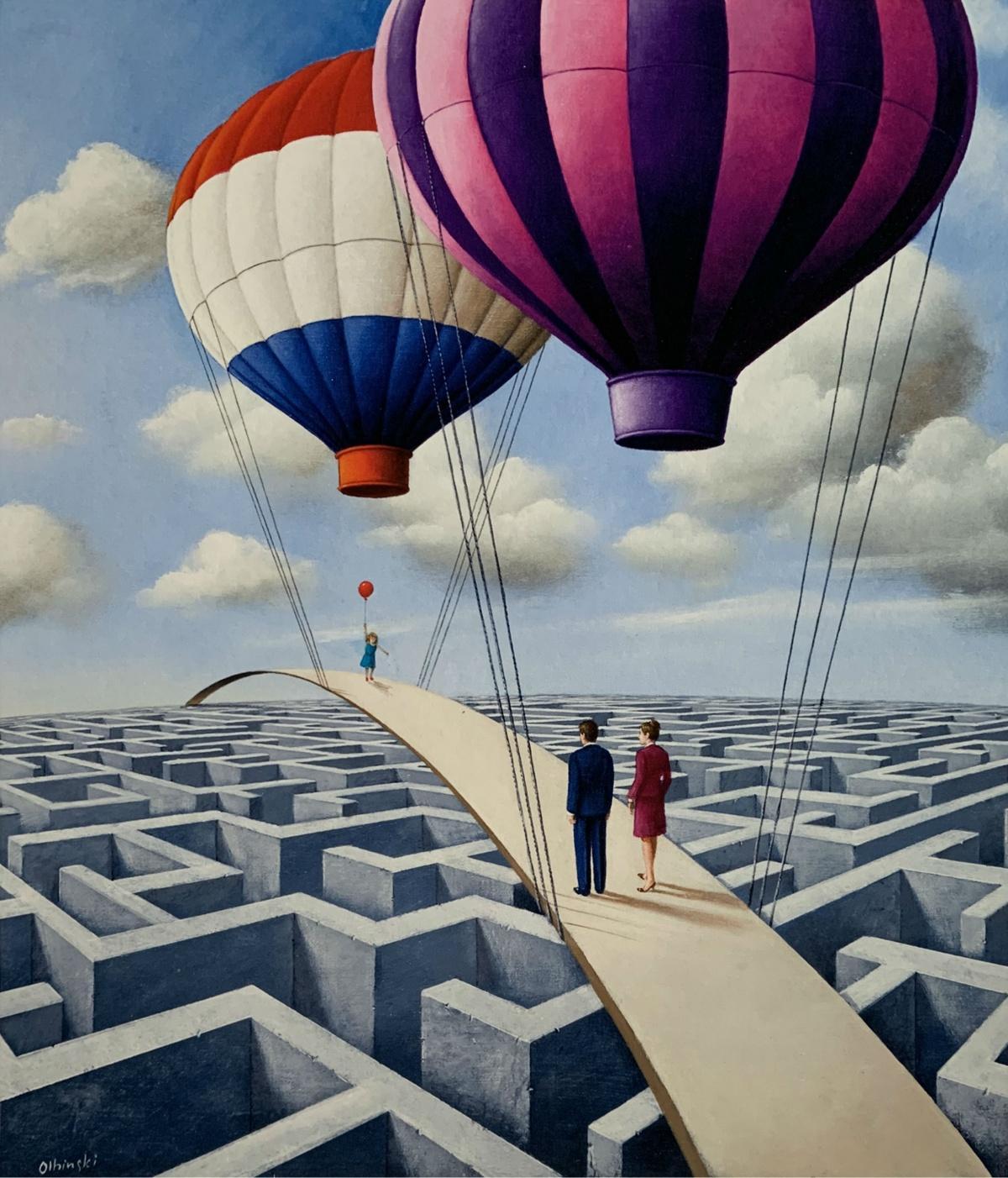 Hot-air balloons - 21st century, Figurative Surrealist print, Vibrant colors