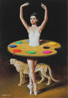 Leopard - XXI century, Figurative surrealist print, Animals, Ballerina, Interior