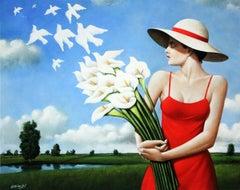 Lilies - XXI century, Figurative surrealist print, Brown colous