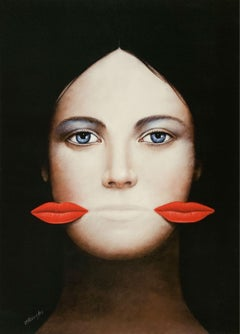 Lips - 21st century, Figurative Surrealist print, Female portrait