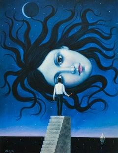 Medusa - 21st century, Figurative Surrealist print, Blue, Mythology