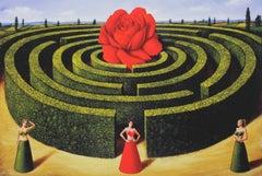 Rose labirynth- XXI Century, Contemporary Figurative Surrealist Print, Landscape