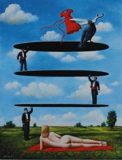 Scissors - XXI century, Figurative surrealist print, Landscape