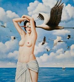 Spring journeys - Figurative Surrealist print, Colorful, Woman, Storks, Nude