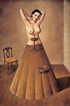 The Cat - XXI Century, Contemporary Figurative Surrealist Print, Interior