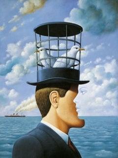 The Hat - XXI Century, Contemporary Figurative Surrealist Print, Landscape, Sea