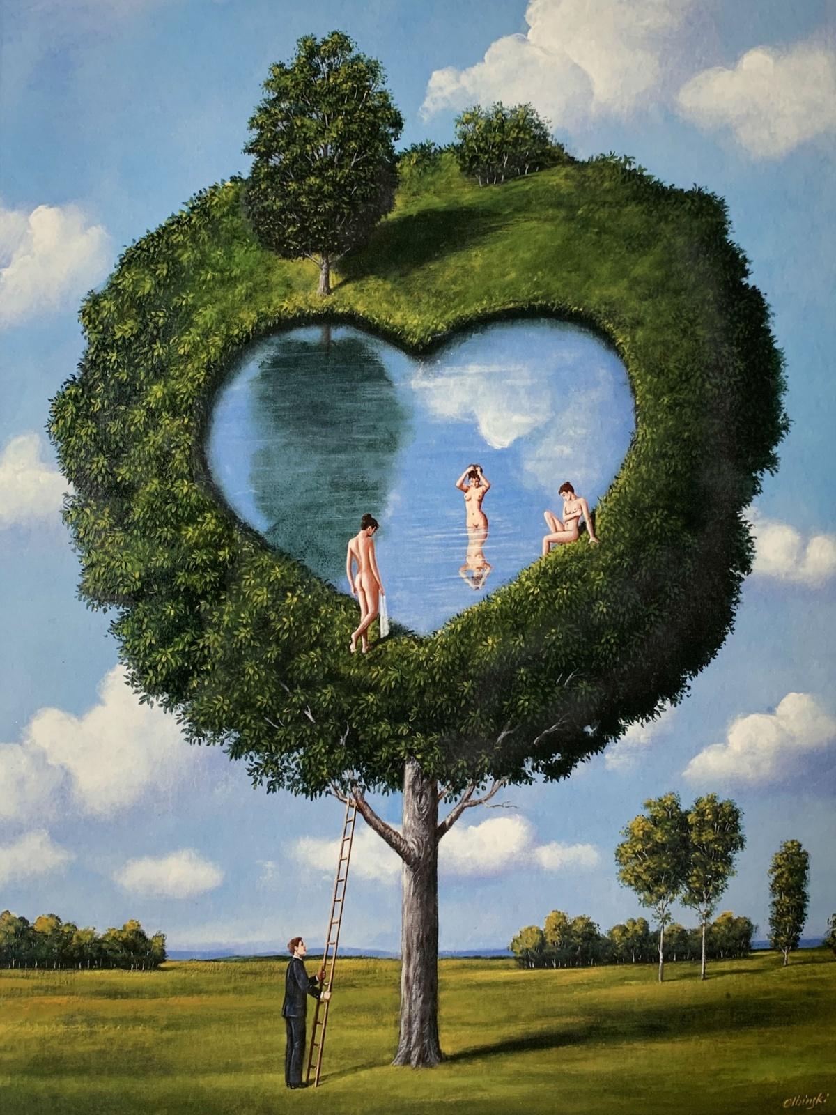 Three Graces - Figurative Surrealist print, Mythology, Landscape, Vibrant colors