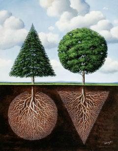 Two trees - XXI century, Figurative Surrealist print, Landscape