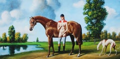 Woman with animals - XXI century, Figurative surrealist print, Brown colous