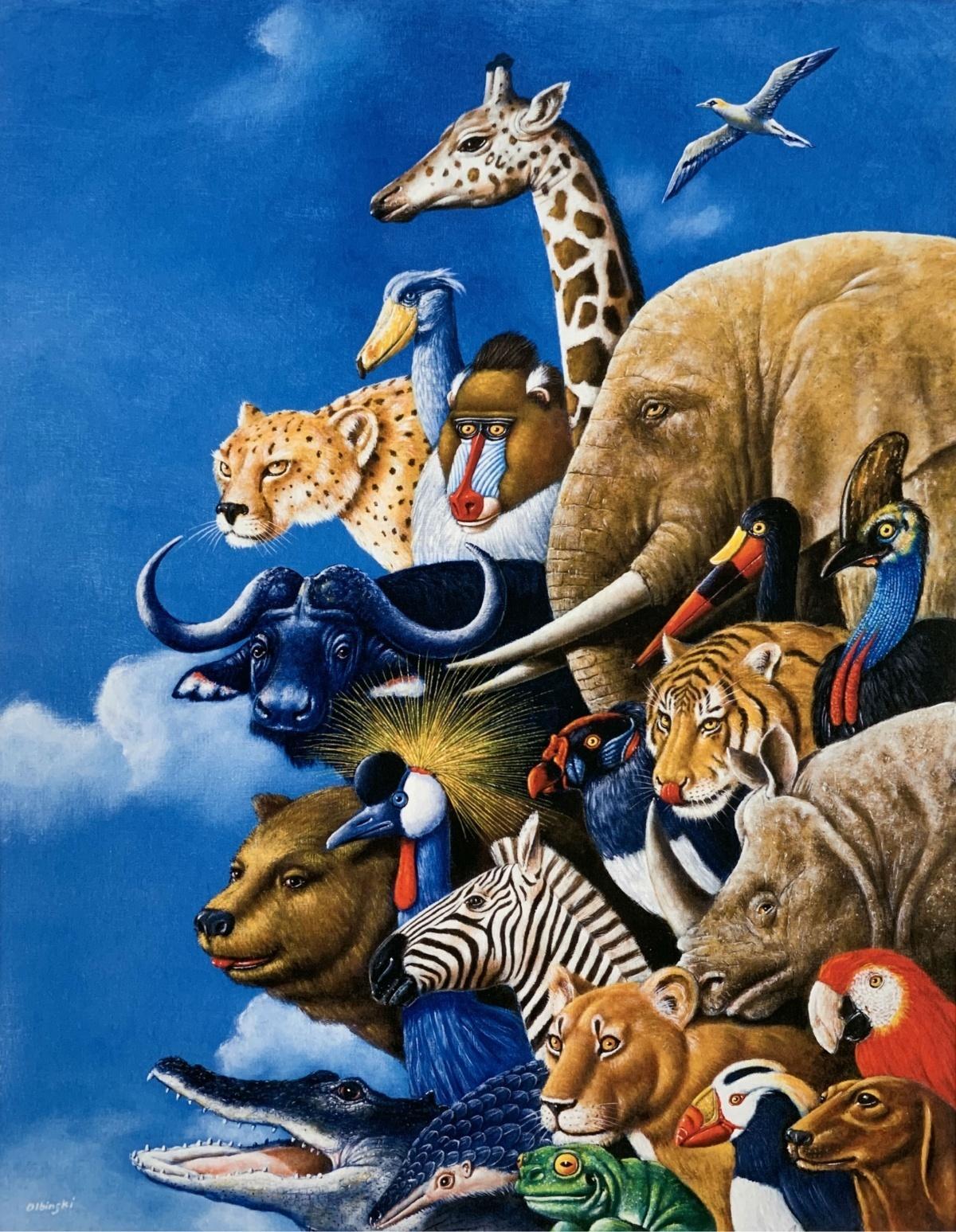 Zootopia - Figurative Surrealist print, Colofrul, Animals, Vibrant