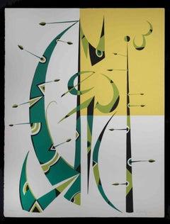 Composition - Original Lithograph by Rafael Alberti - 1972