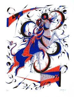 Horse Flies - Original Lithograph by Rafael Alberti - 1970