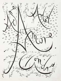 Letter A - Original Lithograph by Raphael Alberti - 1972