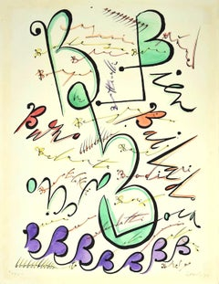 Letter B - Hand-Colored Lithograph by Raphael Alberti - 1972
