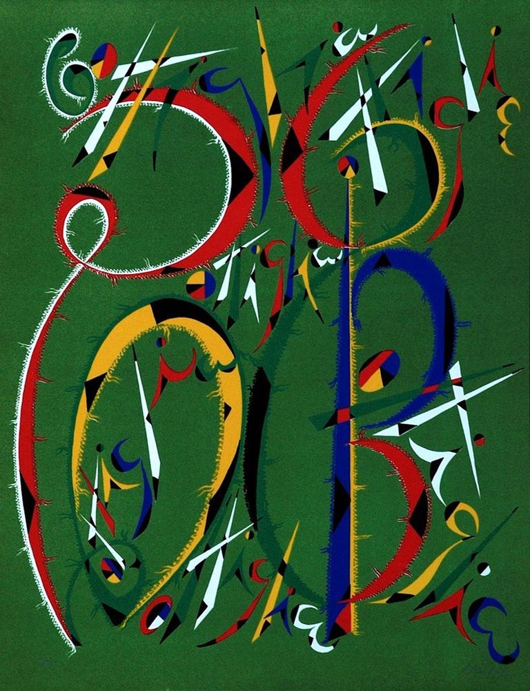 Rafael Alberti Figurative Print - Letter B - Original Lithograph by Raphael Alberti - 1972