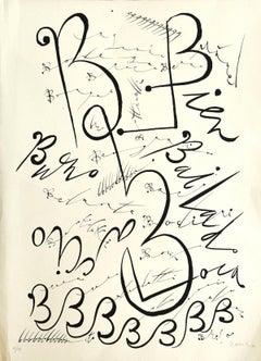 Letter B - Original Lithograph by Raphael Alberti - 1972