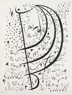 Letter D - Original Lithograph by Raphael Alberti - 1972