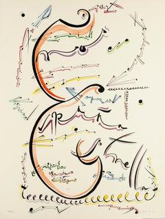 Letter E - Original Hand-Colored Lithograph by Raphael Alberti - 1972