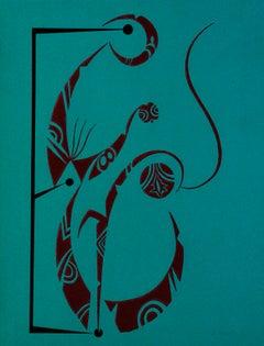 Letter E - Original Lithograph by Raphael Alberti - 1972