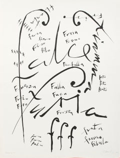 Letter F - Original Lithograph by Raphael Alberti - 1972