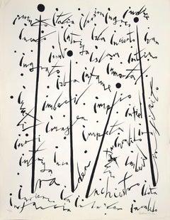 Letter I - Original Lithograph by Rafael Alberti - 1972