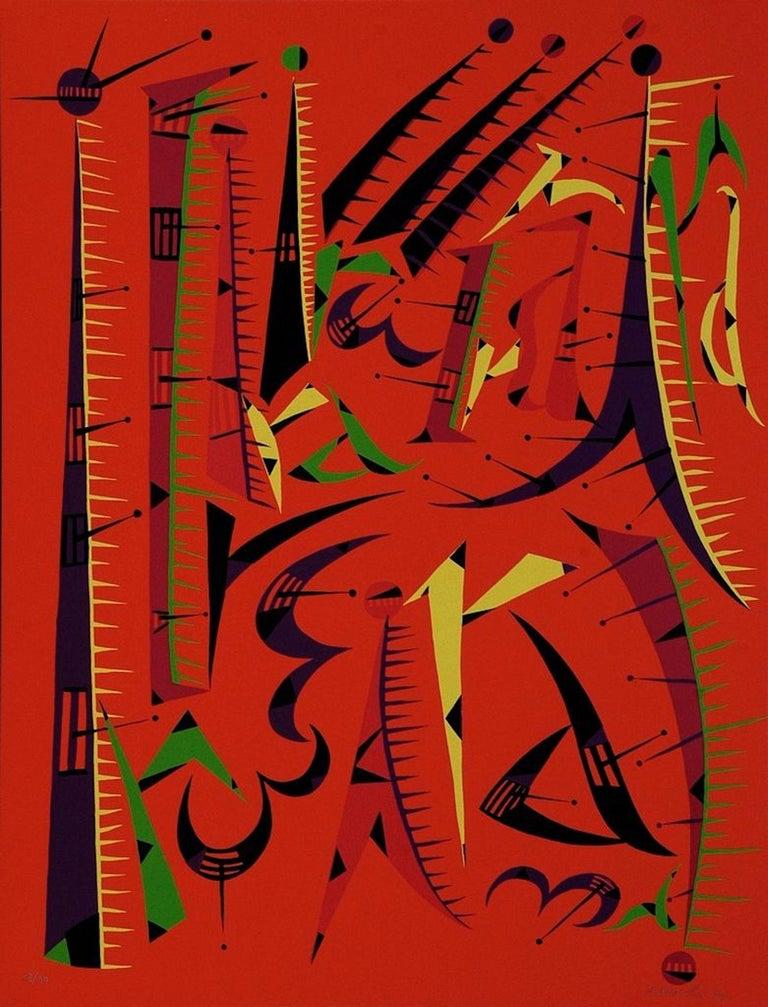 Rafael Alberti Figurative Print - Letter I - Original Lithograph by Raphael Alberti - 1972