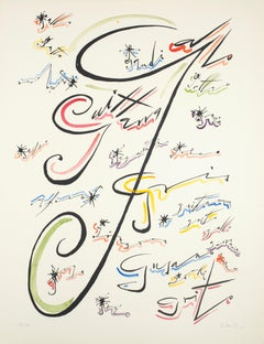 Letter J - Hand-Colored Lithograph by Raphael Alberti - 1972