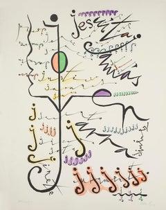 Letter J - Original Lithograph by Rafael Alberti - 1972