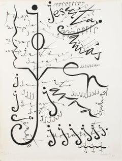 Letter J - Original Lithograph by Raphael Alberti - 1972