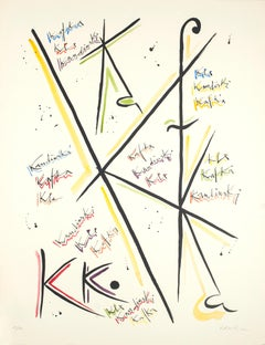 Letter K - Hand-Colored Lithograph by Raphael Alberti - 1972
