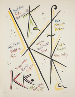 Letter K - Original Lithograph by Rafael Alberti - 1972