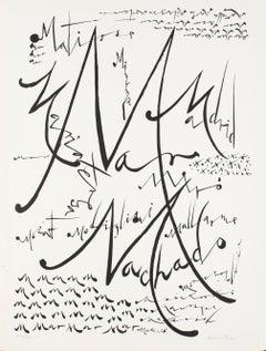 Letter M - Original Lithograph by Raphael Alberti - 1972