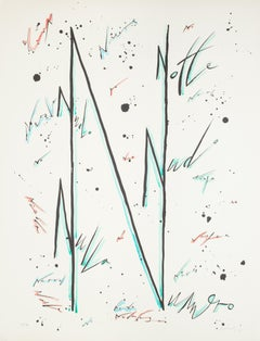 Letter N Blue - Hand-Colored Lithograph by Raphael Alberti - 1972
