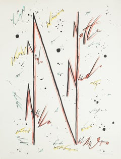 Letter N Red - Original Hand-Colored Lithograph by Raphael Alberti - 1972
