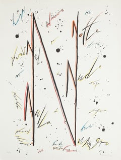 Letter N - Variation - Hand-Colored Lithograph by Raphael Alberti - 1972