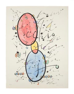 Letter O - Original Lithograph by Rafael Alberti - 1972