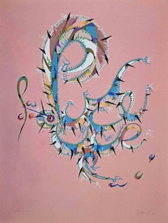Letter P  - Original Lithograph by Rafael Alberti - 1972