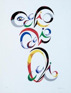 Letter Q - Original Lithograph by Raphael Alberti - 1972