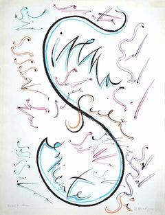 Letter S - Original Lithograph by Rafael Alberti - 1972