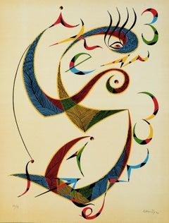 Letter S - Original Lithograph by Raphael Alberti - 1972