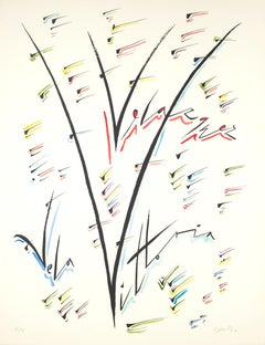 Letter V - Hand-Colored Lithograph by Raphael Alberti - 1972